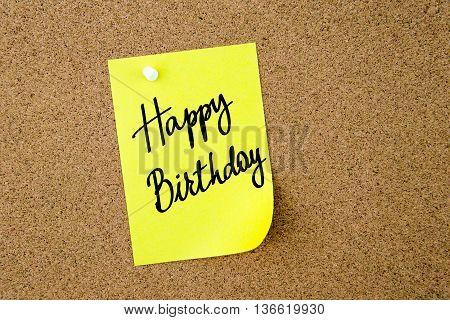 Happy Birthday Written On Yellow Paper Note