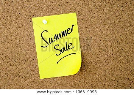 Summer Sale Written On Yellow Paper Note