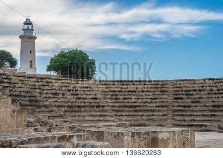 Old Lighthouse In The Archaeological Park Of Paphos, Cyprus