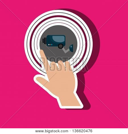 human hand selecting camera cctv isolated icon design, vector illustration  graphic