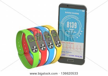 activity trackers or fitness bracelets with smartphone 3D rendering isolated on white background