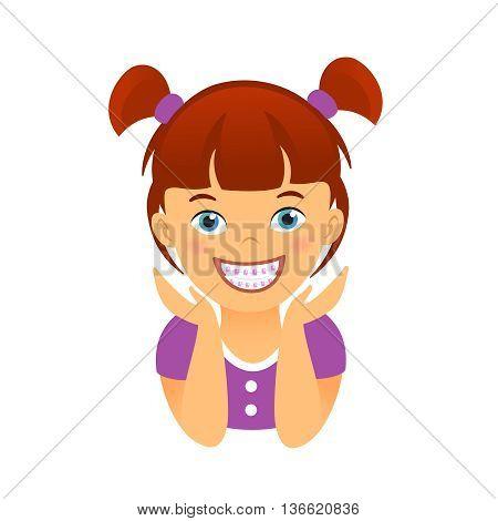 Children braces smiling girl. Editable vector illustration