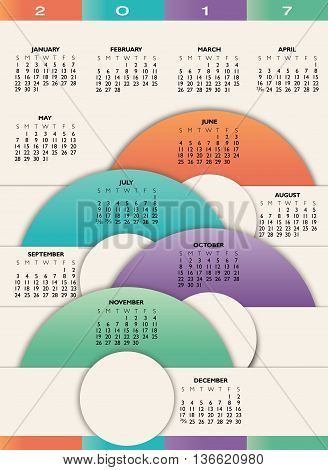 A 2017 colorful calendar using geometric abstract shapes
