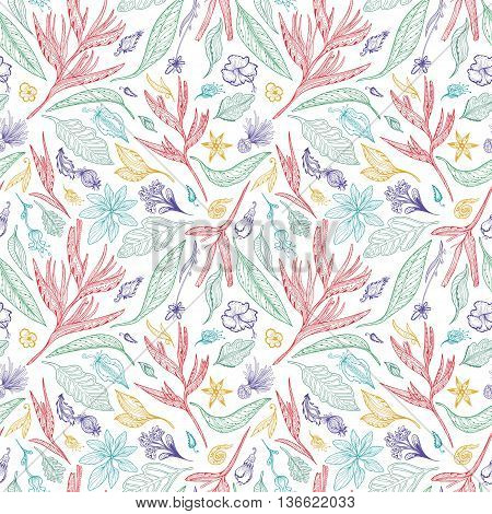 Seamless doodle texture with exotic plants, flowers and leaves in pastel colors on white background