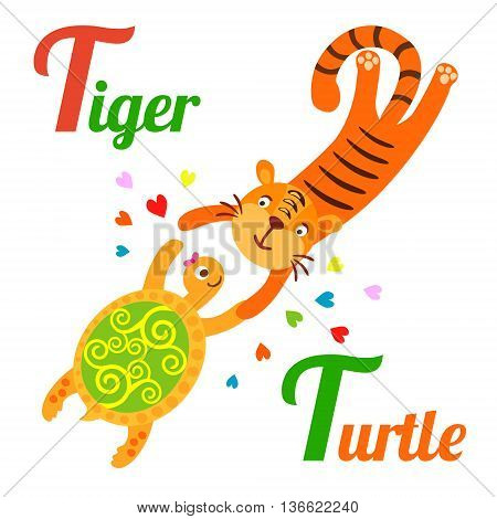 Cute animal alphabet for ABC book. Vector illustration of cartoon tiger and turtle. T letter for the Tiger and Turtle