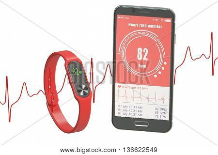 activity tracker or fitness bracelet with smartphone 3D rendering isolated on white background