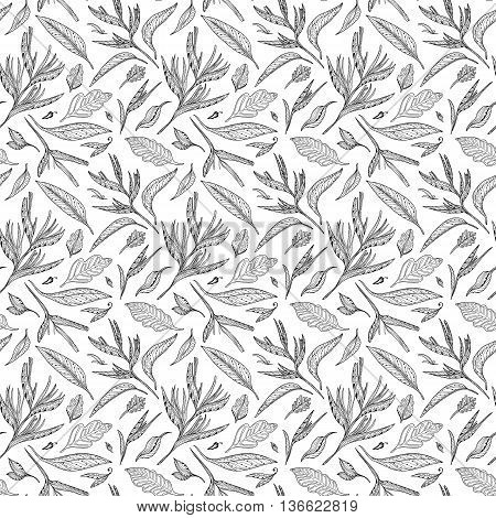 Seamless exotic plants texture with sketch ornamental leaves for textile and wallpaper design