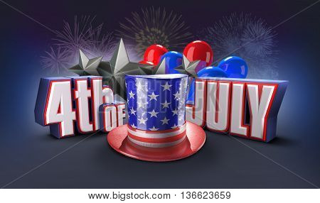 independence day United States 3d illustration. Fourth of july 3D rendering. USA hat and 4 of July title