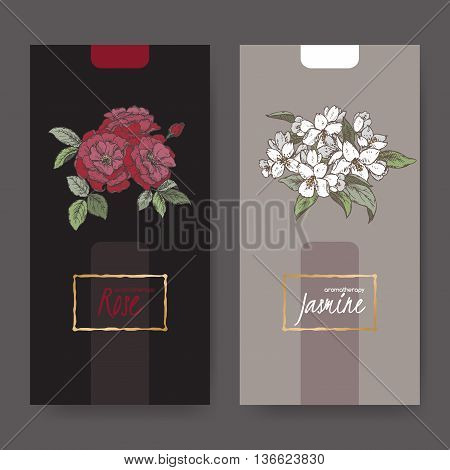 Set of two elegant labels with Damask rose and jasmine bouquet color sketch. Aromatherapy series. Great for traditional medicine, perfume design, cooking or gardening labels.