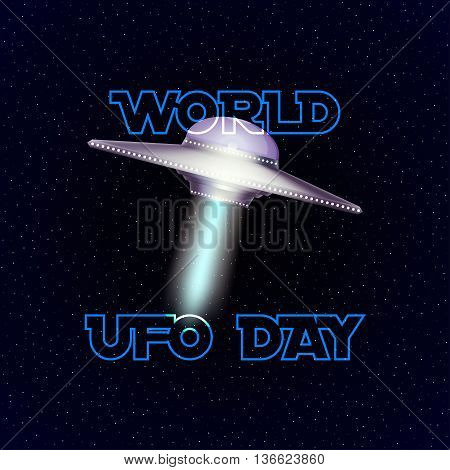 Vector poster for world ufo day with aliens spaceship on stars background.