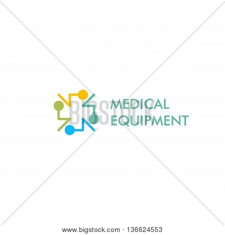 Isolated blue, yellow and green color cross vector logo, Medical equipment sign contour logotype. Hospital symbol on the white background. Religious icon. Arithmetic plus sign