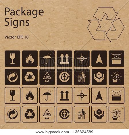 Vector package symbols on craft paper background. Icon set including waste recycling fragile flammable this side up handle with care and other caution signs can be used on the box or packaging.