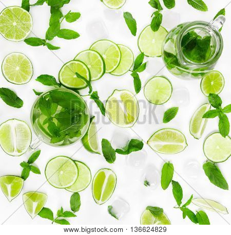 Limes, Fresh Mint And Ice For Mojito