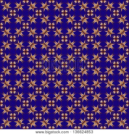 The pattern with decorative ornament in vintage style on blue background