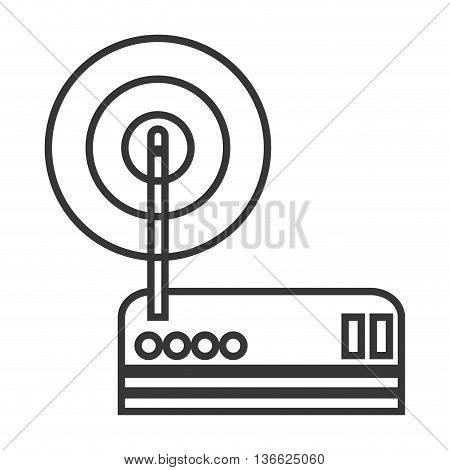 simple flat design wi-fi router modem icon vector illustration