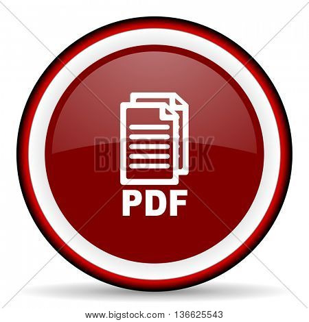 pdf round glossy icon, modern design web element,