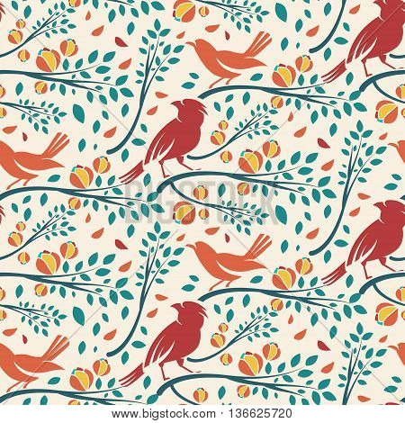 Seamless Pattern Of Spring Birds In Branches With Leaves And Flowers. Vector Illustration