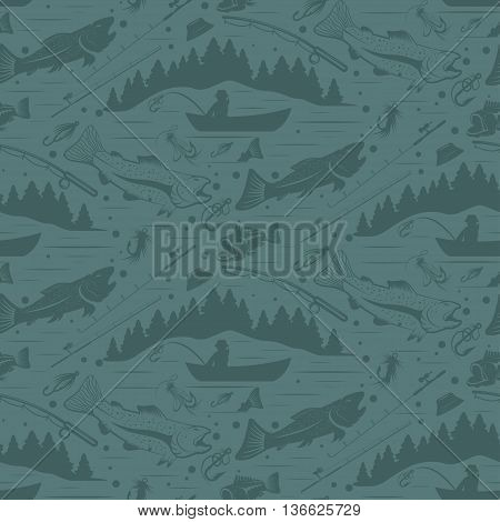 Seamless Pattern For Fishing Theme. With Fish,fishman,lure,rod And Tree. Vector Illustration