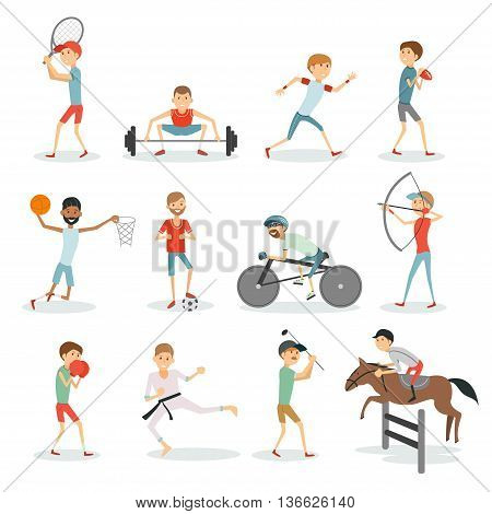 Cartoon sport people. Athletes of different sports basketball, football, golf, jogging, karate, cycling, boxing, weightlifting, tennis, rugby. Vector eps 10 format