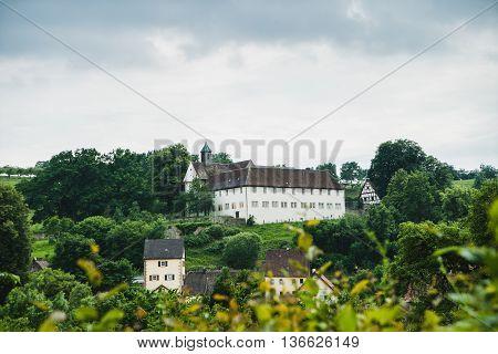 Rural landscape at sommer near medieval village