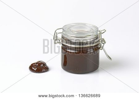 jar of homemade plum butter (powidl)