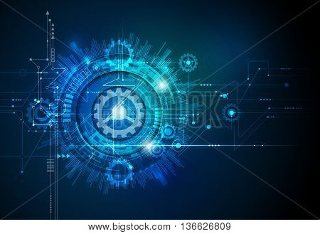 Vector illustration gear wheel, hexagons and circuit board, Hi-tech digital technology and engineering, digital telecom technology concept. Abstract futuristic on dark blue color background