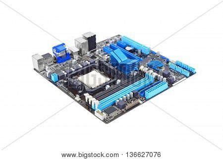 Printed computer motherboard board isolated on a white background