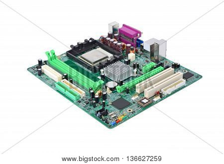 Printed computer motherboard board isolated on white background