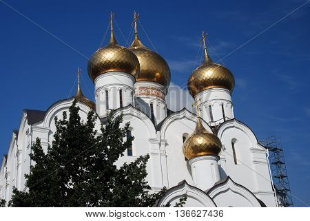 View of the Assumption Church in Yaroslavl Russia. A popular touristic landmark.