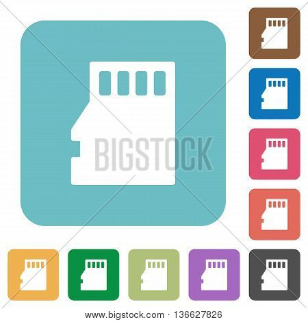 Flat micro SD memory card icons on rounded square color backgrounds.
