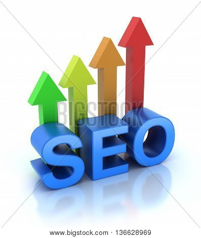 SEO - Search Engine Optimization is growing 3d rendered