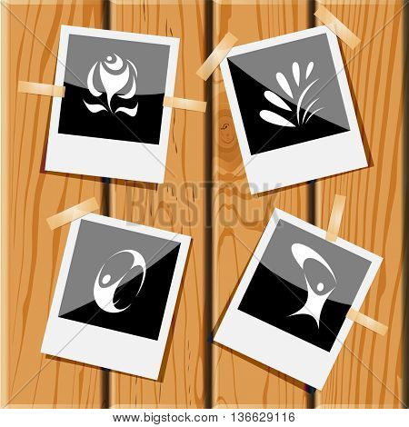 4 images: rose, plant, skydiver, little man. Abstract set. Photo frames on wooden desk. Vector icons.