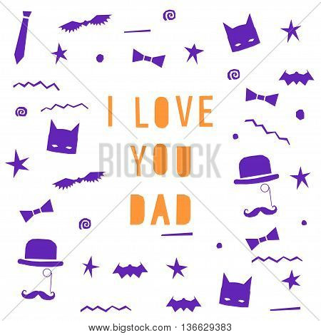 Father's Day greeting card template vector background.