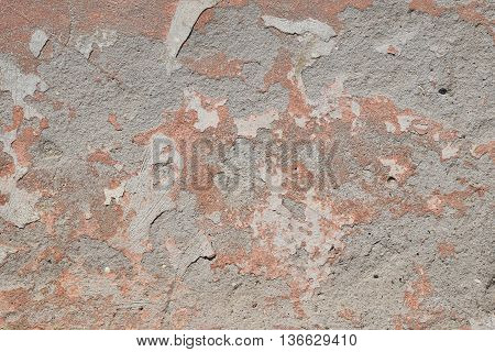 Old Pink Painted Plaster Gray Peeling Wall
