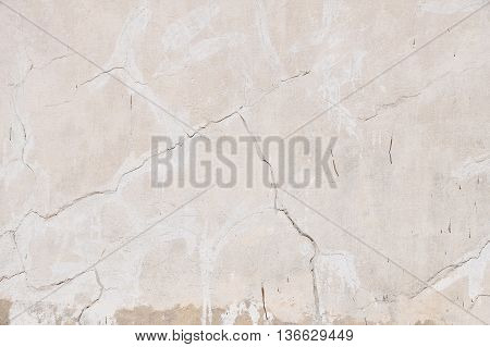 Old Beige Pink Painted Plaster Wall With Cracks
