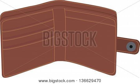 Wallet , open, empty, isolated without money, Finance icon Classic brown portmone vector
