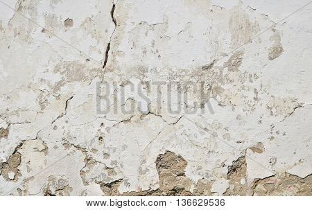 Old White Painted Plaster Wall With Cracks And Stains