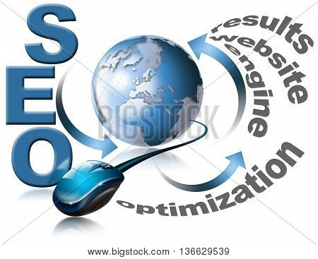 Illustration with globe mouse and written SEO
