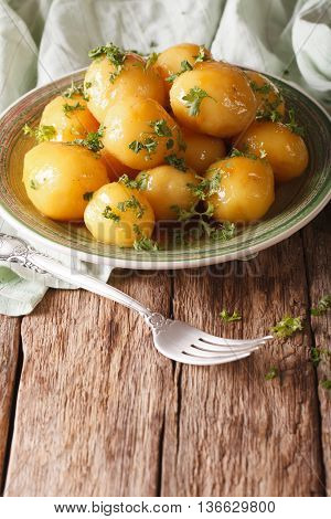 Caramelized New Potatoes With Parsley Close-up On The Table. Vertical