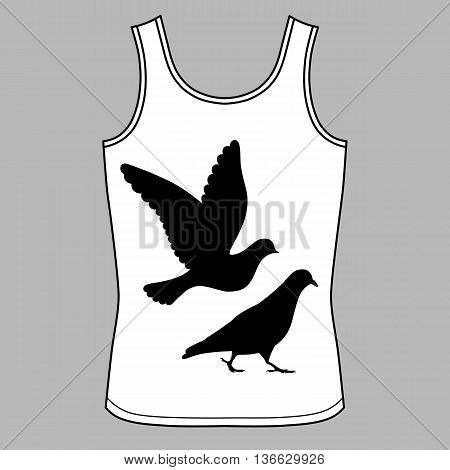 Going & flying pigeons black silhouette singlet vector illustration isolated on background