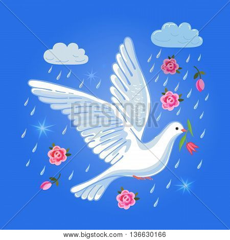 Soaring dove with flower in the clouds vector illustration isolated on blue sky background