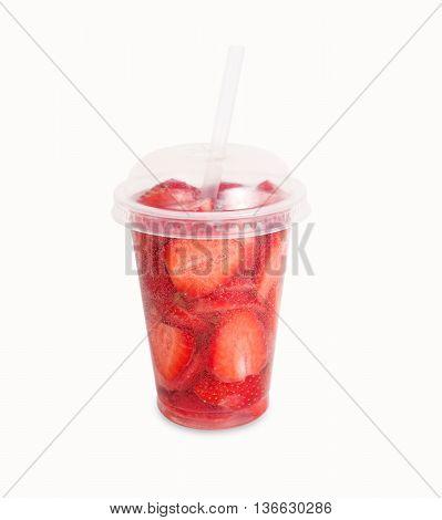 Strawberry lemonade isolated on white background. Lemonade with strawberry slices.