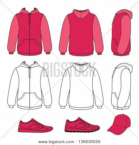 Unisex hoodie cap sneakers set vector illustration. EPS8 file available. You can change the color or you can add your logo easily.
