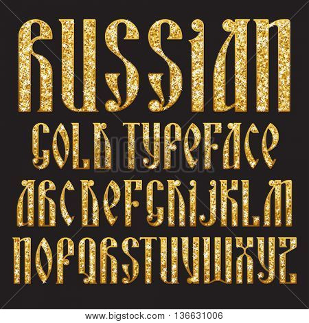 Russian Gold typeface. Latin stylization of Old slavic font. Custom type vintage letters on a dark background. Stock vector typography for labels, headlines, posters etc.
