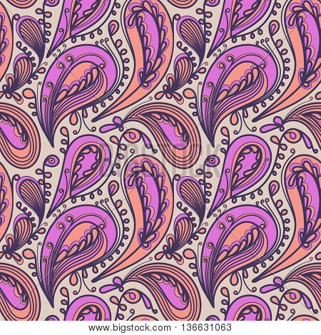 Seamless pattern based on traditional elements Paisley