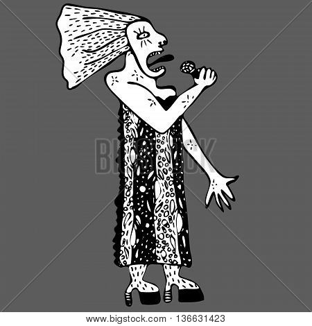 Hand drawn vector illustration singer woman on background. Black and white.