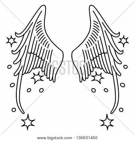 Starred angel wings set linear silhouette isolated on background vector illustration