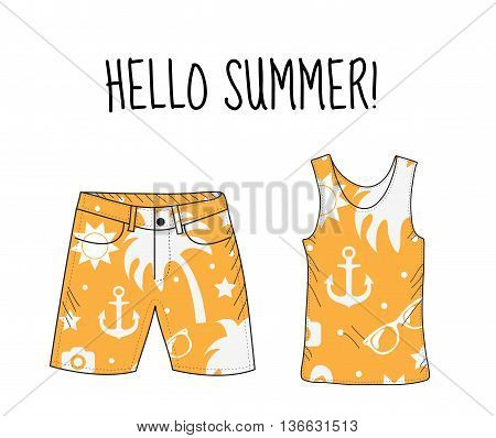 Hello summer T-shirt and shorts with beach print. Summer beach theme. T-shirt and shorts summer clothes. Vector illustration.