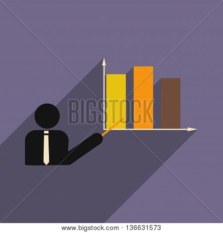 Flat with shadow icon human and economic graph