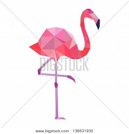 Vector pink polygonal flamingo on white background.